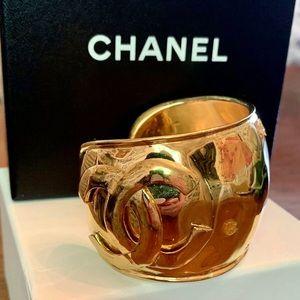 Auth Chanel CC Cuff Bracelet Wide Gold Metal W/Box